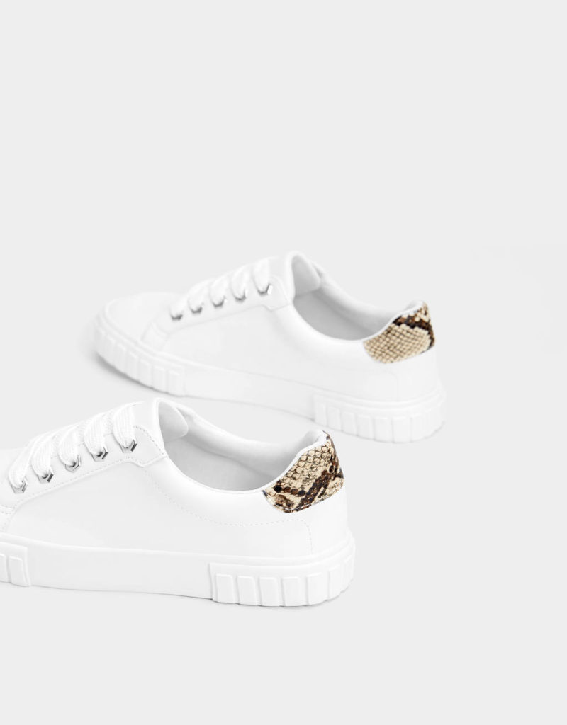 Sneakers blanches bord python